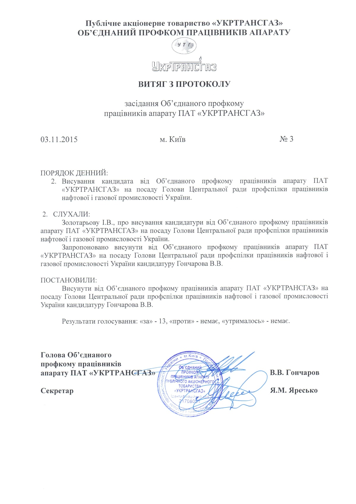 Протокол №3_кандидат на Голову Центр ради